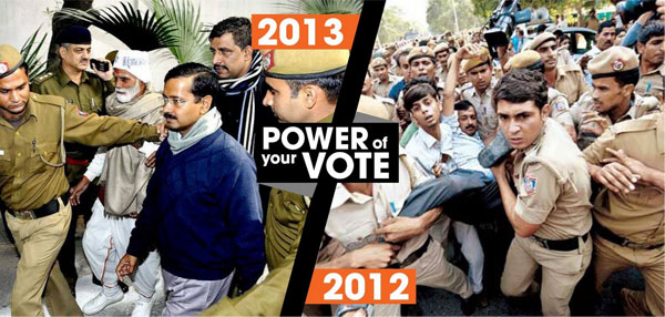 Arvind Kejriwal in 2012 and 2013