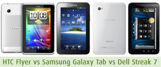 Comparison of HTC Flyer with Samsung Galaxy Tab and Dell Streak 7