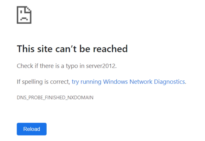 This site cant be reached error