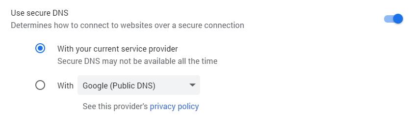 Google Chrome Use Secure DNS Setting